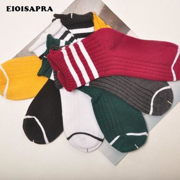 [EIOISAPRA]Edge Candy Color Colllege Style Socks Women Cotton Happy Socks Funny Striped Meias Harajuku Japan Calcetines Mujer