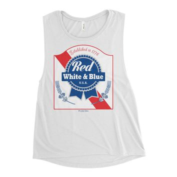 Red White & Blue PBR 4th Of July - Women's Muscle Tank Top