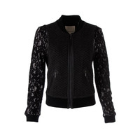 Rebecca Taylor Womens Wool Blend Lace Trim Bomber Jacket
