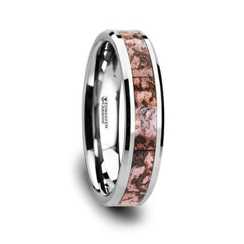 Pink Dinosaur Bone Inlaid Tungsten Ring Beveled