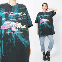 90s Paint Splatter Tshirt Neon Graphic Tee Hipster Racetrack Car Racing Tshirt Mission BC Black Cotton Screen Printed Tee Acid Wash (L/XL)