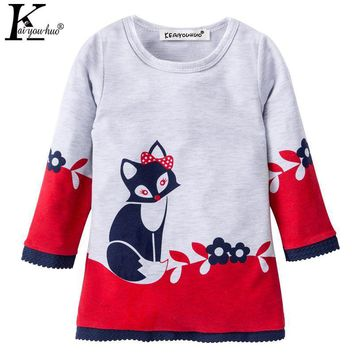 Girls Dress 2017 Autumn Kids Clothes Vestido Infantil Long Sleeve Children Clothes Winter Cartoon Fox Dresses For Girls Costume