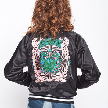 Zodiac Chainstitched Satin Bomber Jacket