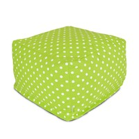 Large Printed Indoor Ottoman - Small Polka Dot - Lime