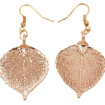 Real Leaf Hook Drop Earrings ASPEN Dipped in Rose Gold