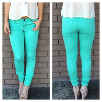 Mint Skinny Denim Pants