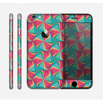The Abstract Opened Green & Pink Cubes Skin for the Apple iPhone 6