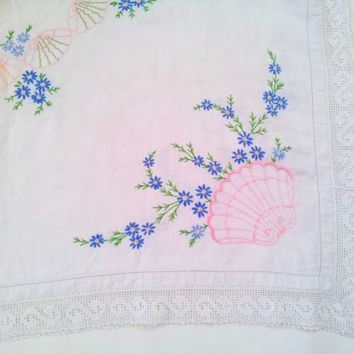 Tablecloth, embroidered tablecloth, table cloth, beach cottage, floral tablecloth, lake house, coastal, nautical, vintage, clarashandmade