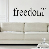 Freedom with Bird LARGE Quote Decal Sticker Wall Vinyl Decor Art