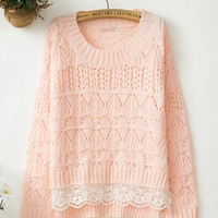 Fanewant — Sweet lace nice pink sweater