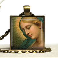 Virgin Mary  Catholic Glass Tile Pendant Necklace Holy Mother Necklace