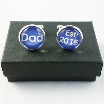 New Dad Cufflinks, Personalized Mens Cufflinks, Custom Initial Cufflinks, Special Gift for Fathers, Groom, Husbands