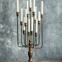 Iron Candelabra in Distressed Black Finish - 29-in