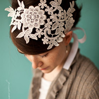 $42.00 Queen's lace headband in pure white Garlands of by GarlandsOfGrace
