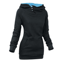 Stylish Front Pockets Solid Color Long Sleeve Women's Hoodie