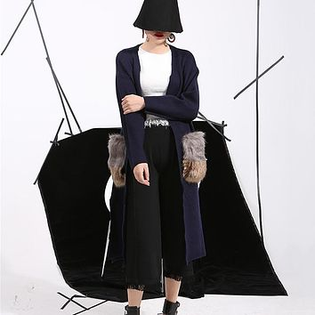 [soonyour]2017 new spring attachable big fur pockets long cardigan nitted fashion windbreaker  trench coat for women