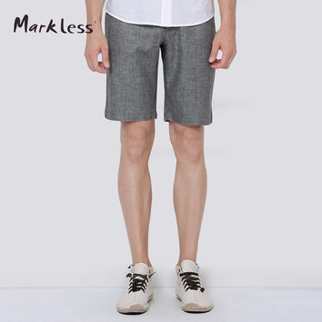 Markless Summer Linen Men Shorts Business Style Male Casual Knee-length Commercial Thin Shorts