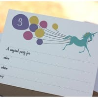 Unicorn and BalloonsBirtday Party Invitation set of by chickprint