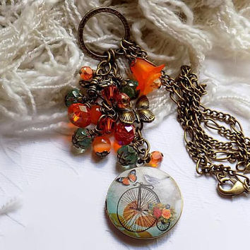 Bike Locket Charm Necklace Victorian Style Bicycle Orange Summer Necklace Gift for Her