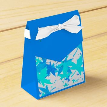 Frost Mixed Blue Leaves Favor Bag Favor Box
