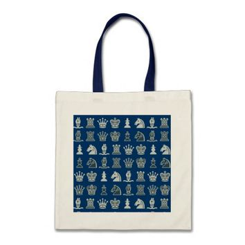 Chess Pieces in Rows Blue Bag