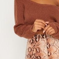 Brown Off The Shoulder Crop Jumper