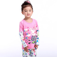 2016mother & kids girls clothing sets cartoon pig pyjama kids sports suit for baby peppa female pyjamas set clothes toddler pjs