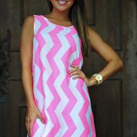 Chevron To The Side Dress: Neon Pink/White | Hope's