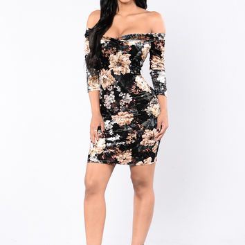 Floral Zone Dress - Black