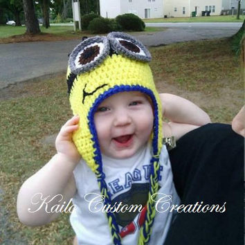 Crochet Minion Hat with earflaps and braids