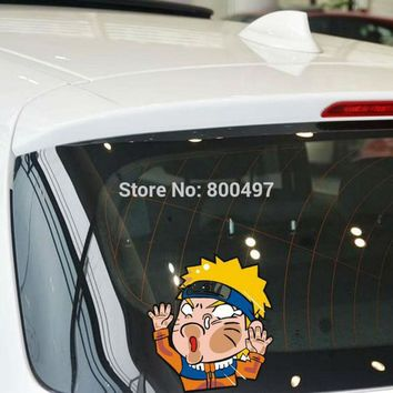 Naruto Sasauke ninja 10 x Newest Car Styling Cartoon  Hitting the Glass Car Stickers Decals for Toyota Chevrolet Volkswagen Ford Tesla BMW Lada AT_81_8
