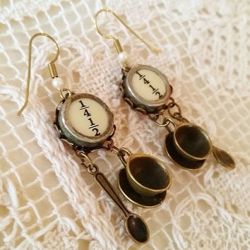 Antique Typewriter Key Earrings, Coffee Earrings, Typewriter Jewelry, Cup and Saucer, Half n Half, Coffee with Cream, Upcycled Bronze Dangle