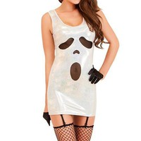 Cheap Halloween Costumes for Women White Scoop Neck Halloween Ghost Dress