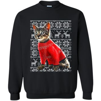 Ugly Christmas Sweater Cat  Christmas Cat Gifts Women Printed Crewneck Pullover Sweatshirt