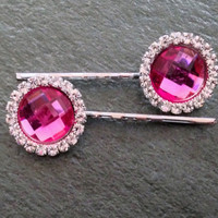 Pink Rhinestone Hair Pins Hot Pink Hair Clip Bobby Pin Crystal Rhinestone Hair Clip Teen Hair Accessories Gift Special Occasion Hair Jewelry