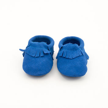 Fringe Suede Leather Baby Moccasins Blue Moon