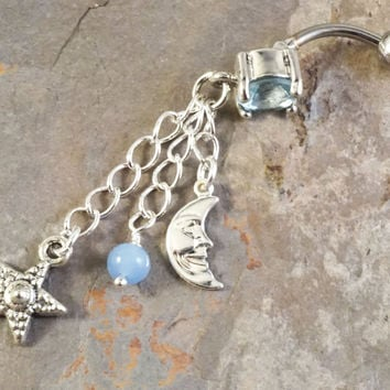 Blue Moon and Star Belly Button Jewelry Ring