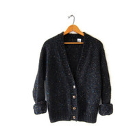 Vintage speckled black cardigan sweater. Slouchy sweater. Mohair blend sweater. Cozy cardigan.