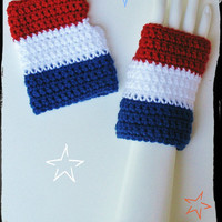 Patriotic Red, White, & Blue Wristwarmers, Fourth of July, Independence Day, Fingerless Texting Gloves, Perfect for Summer, Ready to Ship