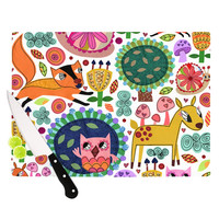 """Jane Smith """"Woodland Critters"""" Colorful Cartoon Cutting Board"""