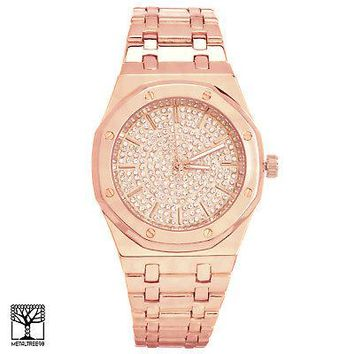 Jewelry Kay style Techno Pave Men's Fashion Rose Gold Plated Iced CZ Metal Band Watches WM 8293 RG
