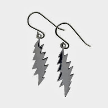 Sterling Silver 13 Point Lightning Bolt Earrings ~ Grateful Dead