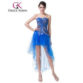 Grace Karin Peacock Prom Dresses Short Front Long Back Turquoise Blue Party Gown Sexy High Low Special Occasion Dress 2017