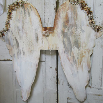 Huge metal angel wings shabby chic home decor hand cut rusted painted white French Nordic inspired piece anita spero