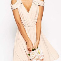 Pink Off The Shoulder V Neck Pleated Dress (FREE SHIPPING & FREE RETURNS)