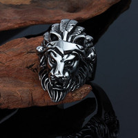 FREE+SHIPPING Lion Head/Men's Masculine Lion Ring/Silver Plated Titanium/QUALITY ITEM