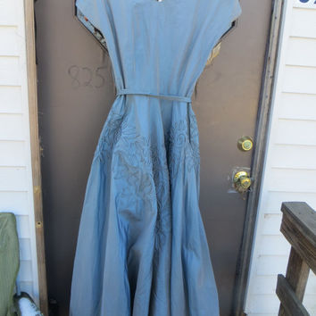 40s Dress 1940s blue slate Taffeta large embroidery  Dress WWII Era Full Skirt