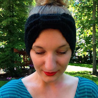 Cinched Crochet Headband, Black, Extra Wide, Turban