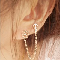 set auger anchor rudder earrings,double ear pierced stud earrings ear bones chain