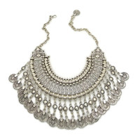 Silver Cleopatra Link Dangling Gypsy Coin Statement Necklace